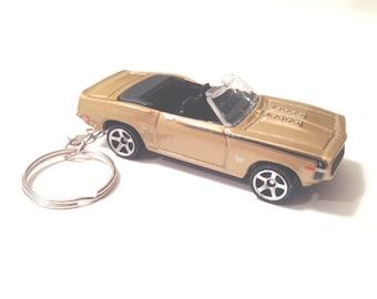 69 Camaro Convertible (NOT Hot Wheels) Keychain. Diecast Key chain, Gold