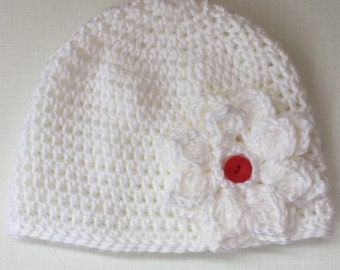 New born hat, Baby girl hat, white baby hat, baby beanie