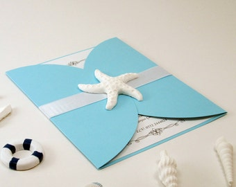 Beach Wedding Invitations, Beach Themed Wedding Invitations, Starfish  Invitations, Coastal Invitations, Finger