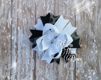 white, black bow