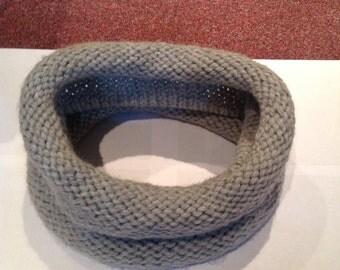 Grey wool cowl neck scarf/snood