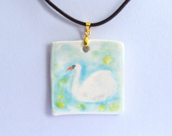 Handmade Hand Painted Ceramic Porcelain Necklace Pendant - Swan