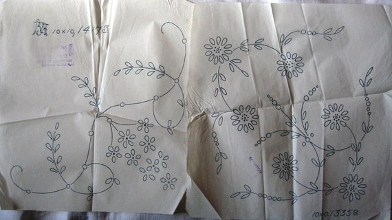 Vintage iron on embroidery transfers featuring flower