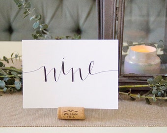 Custom Calligraphy Table Number | Hand Lettered Wedding + Event Table Numbers