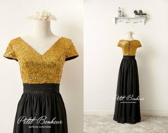 Gold sequin V-neck prom dress, bridesmaid dress, custom dresses,  Chiffon dress, Long Formal dress, custom dress, maxi dress