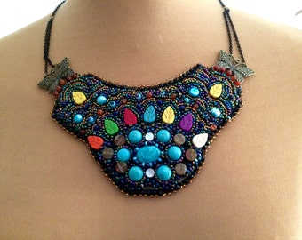 Turquoise bib necklace and multicolored beads