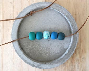 AQUA 5-bead polymer clay necklace | faux suede cord in knot | clay jewellery