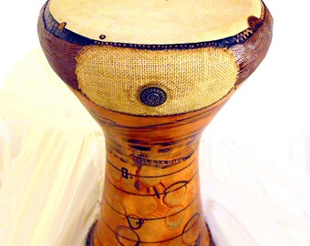 Hand-made clay darbuka