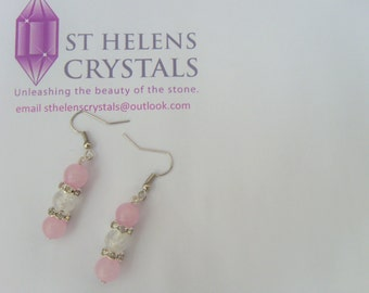 Rose and Clear Quartz Gemstone Earrings