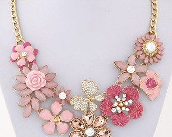 Pink Gemstones And Flowers Necklace
