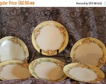 "CHRISTMAS SALE Set of 6 Antique Hand Painted 6.75"" Dessert Plates - Yellow Flowers, Thomas ""Sevres"" Bavaria"