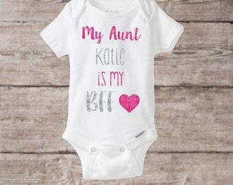 Baby girl onesie, Aunt BFF, Personalized baby onesie, I love my aunt, baby shower gift