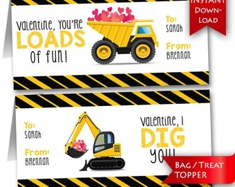 Printable / Editable Construction Vehicle Valentine's Day Treat Topper (Instant Download)