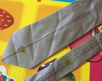 Vintage Versace Tie Pure Silk Tie Striped Tie