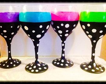 Four Hand Painted Wine Glasses, Polka Dot Wine Glasses, Painted Wine Glasses, Gift Ideas for Women, Birthday Gift Ideas