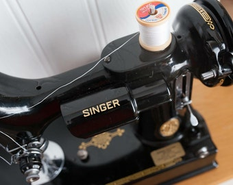 Singer Portable Electric Sewing Machine 221K~Featherweight ~1950