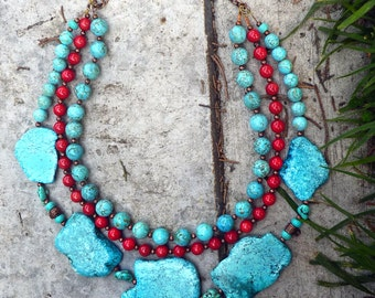 Beaded Turquesa &Coral Necklace, Handmade Necklace