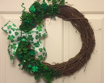 Shamrock St. Patrick's Day Grapevine Wreath