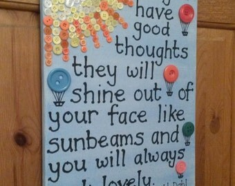 Roald Dahl quote: 'If you have good thoughts...' From The Twits - 40cm x 30cm canvas