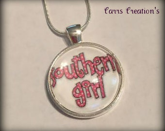 Southern Girl glass pendant necklace