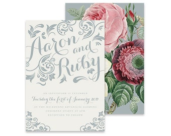 Vintage Wedding Invitation | Charming | Printable DIY Invite, Affordable Wedding Invitation | Grey Wedding Invitation, Pink Flowers