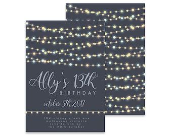 Printable Birthday Invitation | Garland Pretty Lights | Printable DIY Invite, Affordable Invitation, Digital Invite, Girl's Invite 13th