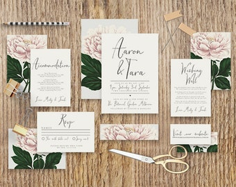 "Printable Wedding Invitation Suite ""Forever Yours"" - Printable DIY Invite, Affordable Wedding Invitation"