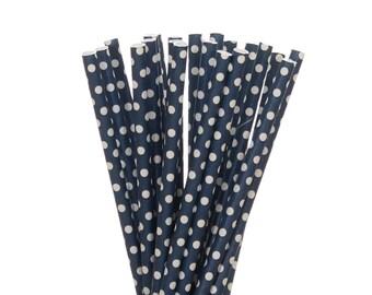 Paper Straws, Navy Blue Polka Dot Paper Straws, Polkadot Baby Shower Straw, 1st Birthday Party Straws, Gender Reveal Decor, Nautical Wedding