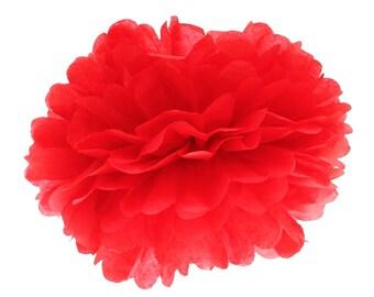 Pom Pom, Tissue Paper Pom Pom Ball, Tissue Paper Pompoms, Red Pom Poms, Wedding Backdrop, 1st Birthday Party Hanging Decor, Baby Shower Poms