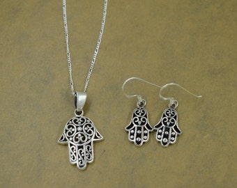 Sterling Silver Fatima Hand/Hamsa Hand Set with Chain
