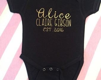 Baby name onesie. Bring home baby outfit.