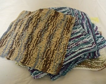 Hand knit dish cloths, cotton hand knit dish cloths, cotton hand knit wash cloths