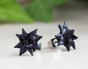 Stars Studs origami paper schwarz fröbelstar