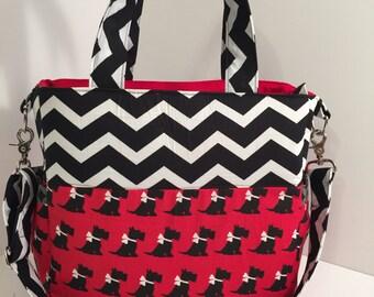 REDUCED PRICE Scotty Dog Chevron Diaper Bag