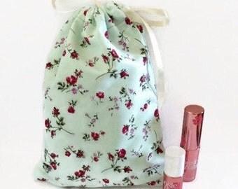 Handmade Floral Drawstring Bag, Makeup Bag, Travel Bag, Cosmetic Bag, Drawstring Jewellery Pouch