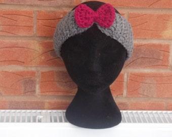 Pink headband, bow headband, pink bow, pink and gray, gray headband, adult headband, crochet headband, girls headband, headbands, crochet