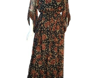 Vintage 1970s Treacy Lowe Indian Silk Chiffon Wide Sleeve Maxi Dress With Belt UK 8/10