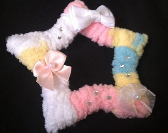 cute fuzzy star hair clipand broach lolita fairy kei