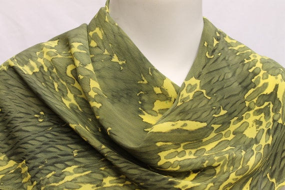 Sage Green Lemon Yellow Hand Dyed Silk Scarf Crepe de Chine Arashi Shibori Yellow Sage Green