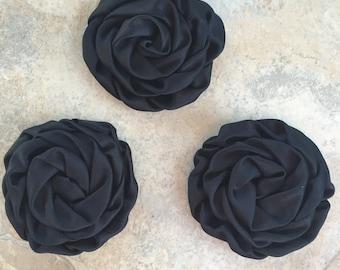 """3"""" Rolled Satin Rosettes, BLACK, black rolled satin flowers,  black material flowers,  black silk flowers, black roses, black rosettes"""