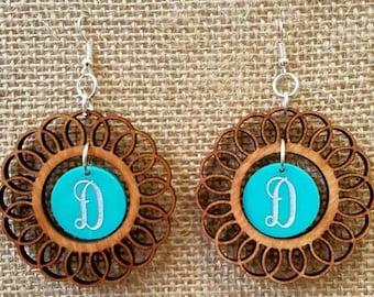 Acrylic/Wood Earrings, monogram earrings , initials, birthday gift, bridesmaid gift,  just for her