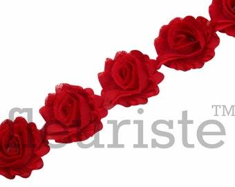RED PETITE Shabby Rose Trim, Petite Shabby Trim, Petite Shabby, Shabby Flower Trim, Shabby Flower, Shabby wholesale, Shabby by yard