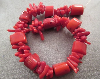 Red Bamboo Coral Cupolini Branch/Nuggets Beads