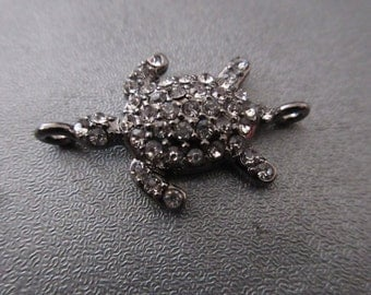 Turtle Rhinestone Spacer Connector 1pc
