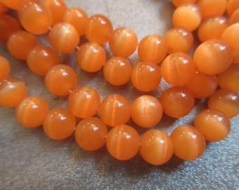 Light Orange Cat's Eye Round 8mm Beads 53pcs