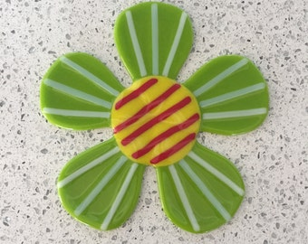 """Lime Green and White Striped Retro Fused Glass Wall Flower - 6.5"""" diameter"""