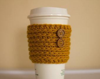 Mustard coffee cozy with wooden buttons, goldenrod, yellow coffee cozy, coffee cup sleeve, coffee mug cozy, ready to ship, vegan gift