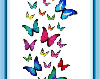 Flight of the Butterflies Printable Poster Art 8 x 10 inch Instant Download (1055) Printable Room Decor, Office Decor, Home Wall Decor