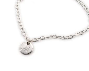 Initial Bracelet, Handwritig Jewelry, Personalized Bracelet, Engraved Bracelet Sterling Silver, Bracelet, Dainty Bracelet,