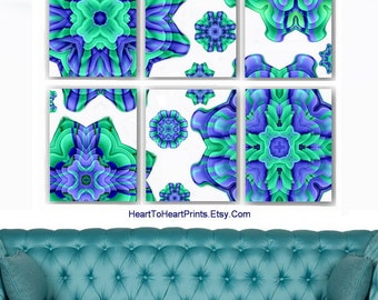 floral art prints teal mint green lavender abstract flower mandala shabby boho cottage chic wall art set of 6 dining living room bedroom chic mint teal office